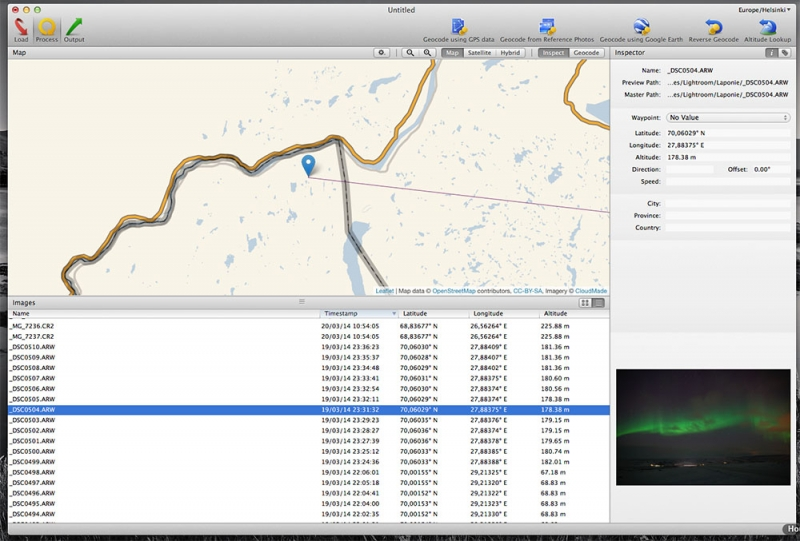 HoudahGeo GPS geotagging software workspace