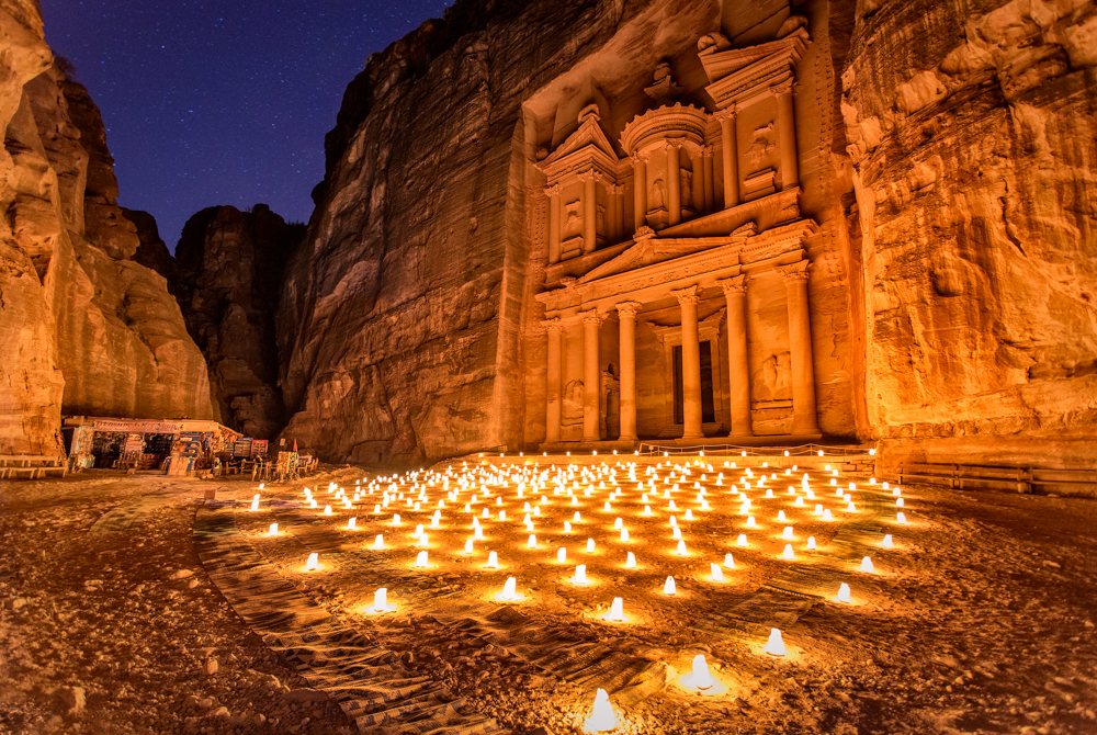 al khazneh, the treasury, petra, jordan, by night