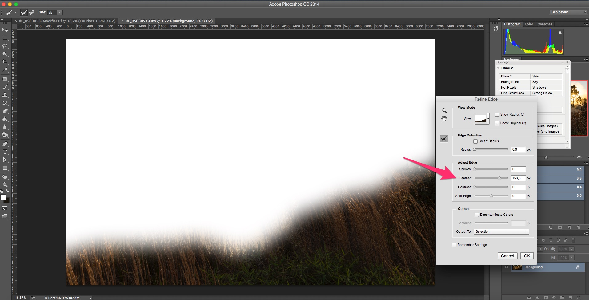 "Use the ""feather"" slider to blur the edges of the selection."